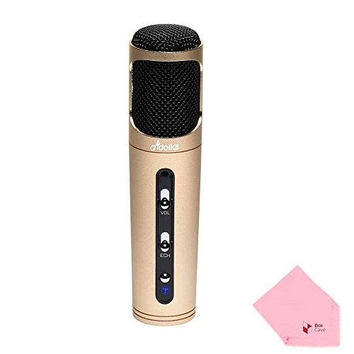 Idol K8 Karaoke Condenser Microphone | Wired | Echo & Volume Control Button (Gold) by Full Power
