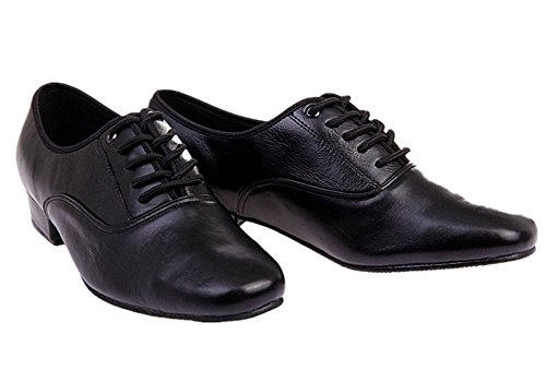 BeiBestCoat Men's Classic Lace-up Leather Dance Shoes Modern Dancing Shoes, Black (10.5 D (M) US / 45) (Salsa Shoes Men)