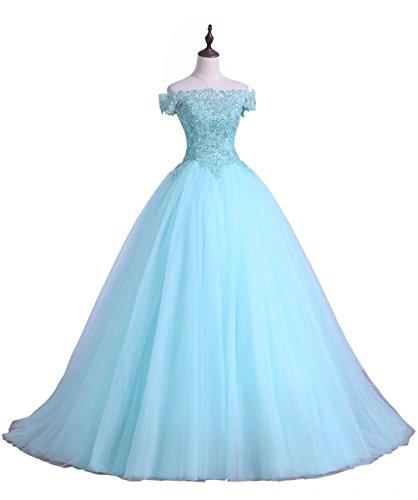 Au Large Des Robes De Soirée Épaule Bleu Ciel En Applique De Ainidress Robe De Bal Longue