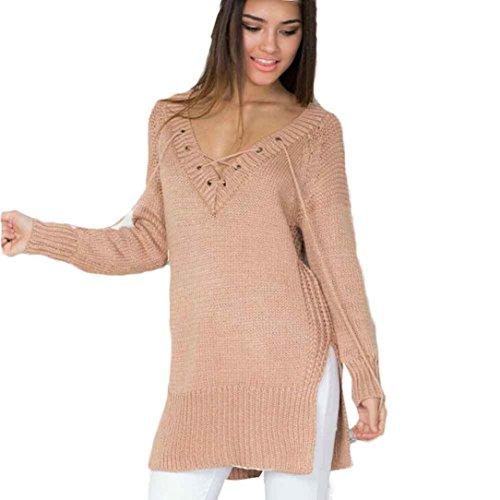 EKIMI Women Long Sleeve V-Neck Knit Loose Long Top Sweater Knitting (Boatneck Wool Sweater)