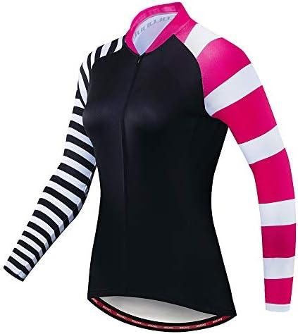 サイクルジャージ Stripe Colorsレディーススポーツサイクリングジャージーショートロングスリーブスリムフィットバイク自転車MTBシャツ背面反射ストリップ通気性UV保護 吸汗速乾高通気 (色 : ストライプ, サイズ : XL)