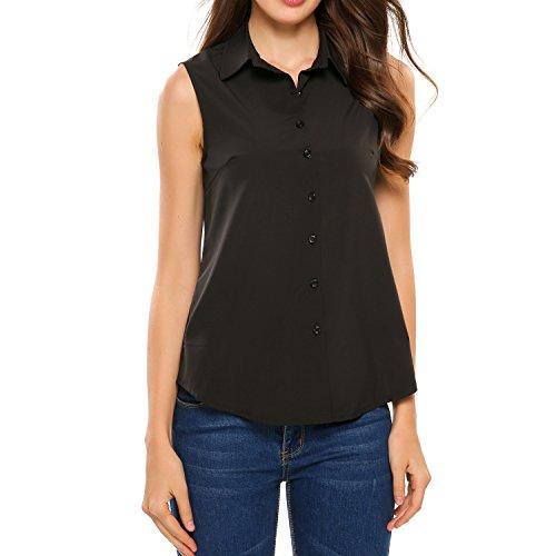 Zeagoo Women's Sleeveless Button Down Shirt Tops Solid Casual Loose Blouse - Black/S-XXL