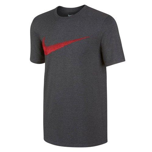 Nike Apparel - NIKE Men's Sportswear Hangtag Swoosh Tee, Charcoal Heather/University Red, Large