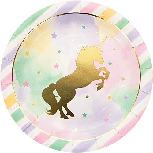 Creative Converting 329409 Unicorn Sparkle Paper Dinner Plates Party Supplies, 9