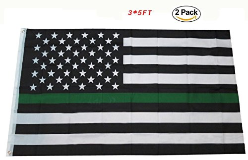 Wholesale Thin Line Green USA American 3x5 3'x5' Flag Premi
