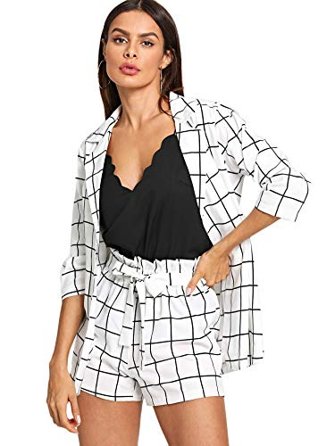 (SheIn Women's 2 Pieces Plaid Thin 3/4 Sleeve Blazers and Self Tie Waist Shorts Set White)