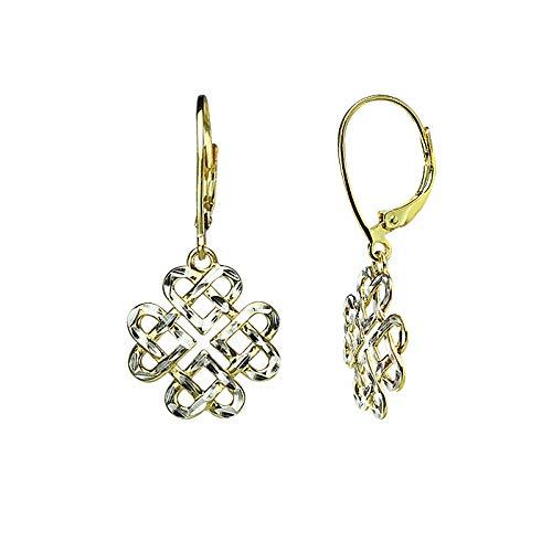 Two Tone Sterling Silver Diamond-Cut Filigree Heart Love Knot Leverback Dangle Drop Earrings