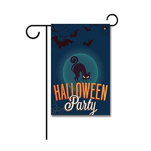 (Jagfhhs Custom Garden Flag Black Cat and Bat Halloween Night Party Yard Seasonal Outdoor Polyster Banner Decoration Two)