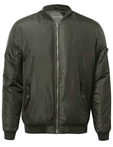 Classic Basic Solid Zip Up Sleeve Pocket Bomber Jacket Olive Size S