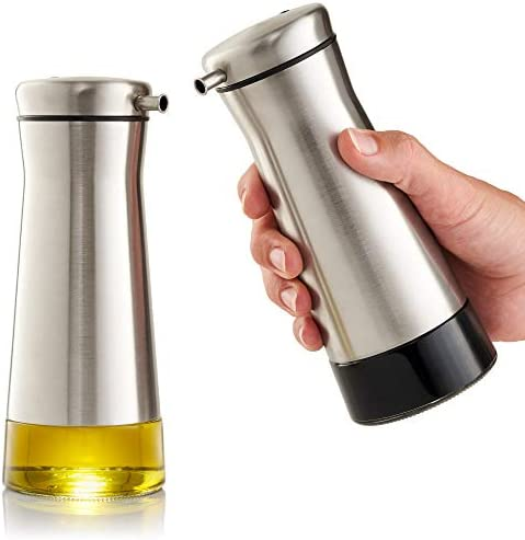 Gorgeous Olive Oil And Vinegar Dispenser Set of 2 - Elegant Stainless Steel Oil Cruet Set For Easy & Drip Free Pouring