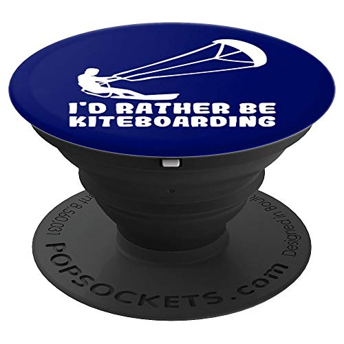 Rather Be Kiteboarding Dark Navy Blue Kiteboard - PopSockets Grip and Stand for Phones and Tablets