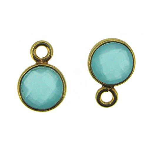 Bezel Gemstone Pendant - Tiny Circle Shape - 7mm - Gold Plated Sterling Silver Bezel Gem (2 pcs) (Peru Chalcedony)