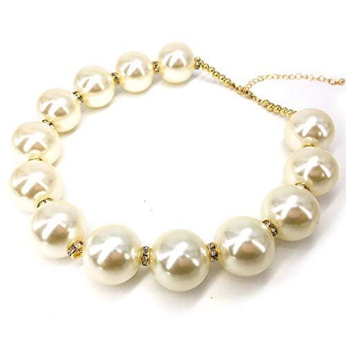 (We We Fashion Imitation Pearl Necklace Choker Chunky Statement Bib Necklace (White 02))