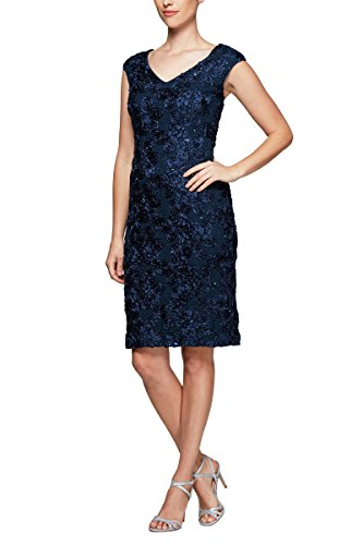 Alex Evenings Women's Midi Length V-Neck Shift Dress (Petite and Regular Sizes)