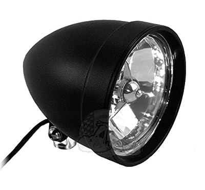 "ACCESSORIESHD - BLACK CLASSIC COBRA NO VISOR Chrome Billet Headlight 5.75"" x 7"" Harley Chopper Bobber Custom"