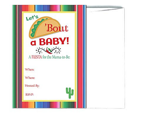 Let's Taco Bout a Baby Fiesta Baby Shower Mama to Be Invitations 20 Count with Envelopes