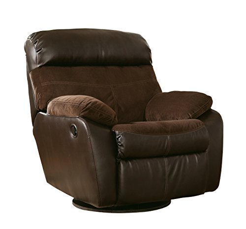 Ashley Furniture Signature Design - Berneen Recliner - Swivel Rocker - Pull Tab Manual Reclining - Contemporary - Coffee (Country Corner Console Casual)