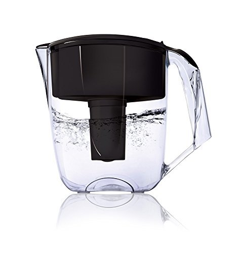 Ecosoft 10 Cup Water Filter Pitcher Jug w/ 1 Free Filter Cartridge, Black (10 Drinking Water Filter)