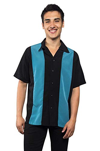 Bowler Mens Shirt - G-Style USA Men's Two Tone Button Up Striped Casual Bowler Guayabera Bowling Shirt 2018-BOW - Teal/Black - 2X-Large