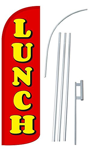 """NEOPlex – """"Lunch 12-Foot Super Swooper Feather Flag with Heavy-Duty 15-Foot For Sale"""