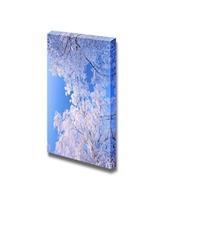 A Winter Landscape with Frosted Trees and a Bright Blue Sky Wall Decor ation