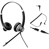 Audicom 2.5mm Call Center Headset with Mic + Quick Disconnect Headphone for Telephone Grandstream GXP-2010 GXP-2020 GXP-2100 GXP-2110 GXP-2120 GXP-280 GXP-285 BT200 with 2.5mm Socket(702RQD25C)