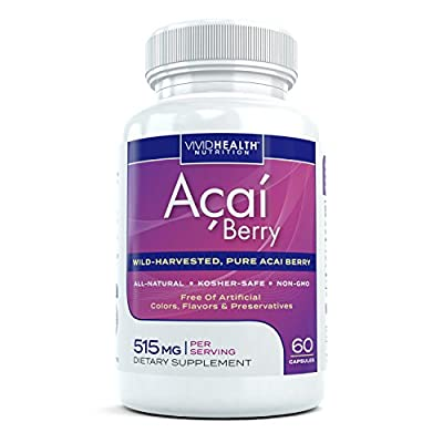 All-Natural Pure Acai Berry Extract Supplement - High in Antioxidants to Support Detoxification, Weight Loss and Overall Daily Health - Non-GMO and Wild Harvested from Brazil, 515mg 60 Capsules