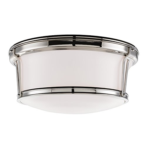 - Newport Flush 3-Light Flush Mount - Polished Nickel Finish with Opal Glossy Glass Shade
