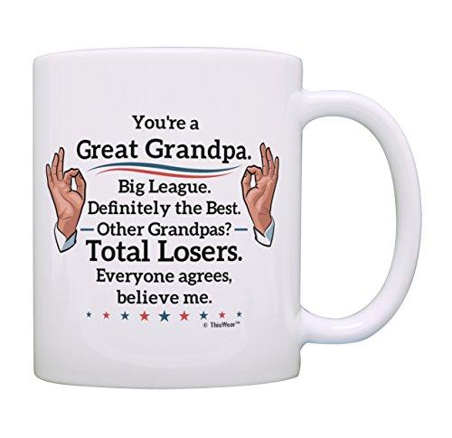 Best Grandpa Gifts Great Grandpa Big League Definitely Mug Fathers Day Mug Birthday Gifts for Grandpa Grandson Gifts Grandfather Granddaughter Gifts Funny Gifts for Grandpa Coffee Mug Tea Cup White