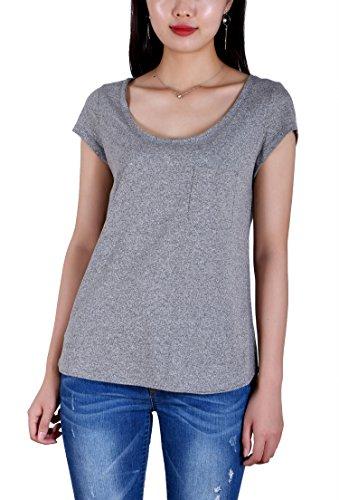 Water Womens Cap Sleeve T-shirt - HIYIN Women's Summer Short Sleeve Loose Casual T-Shirt Top Gray(Large)