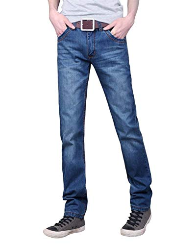 Di In Casual Jeans Alla A Pantaloni Base Retrò Uomo Fit Da Denim Regular Moda Gamba Blau Slim Dritta ndgYZXxqZC