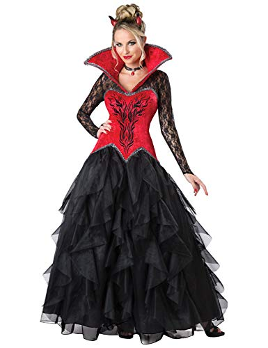 DoLoveY Women's Vampiress Queen Costume Vampire Fancy Dress Up Halloween Red