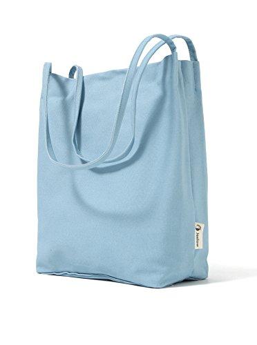 Canvas Tote Bag Handbag Shoulder Bag Purses For Men And Women (Light blue) by Jeelow (Image #7)