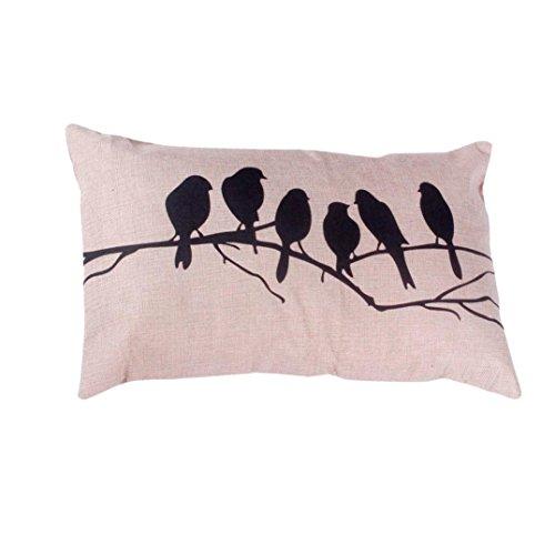 KMG Kimloog Throw Pillow Cover Cute Bird Tree Branches Silho