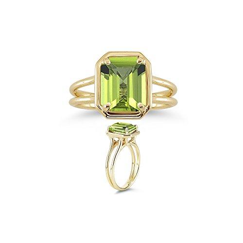Emerald Cut Peridot Solitaire Ring - 3