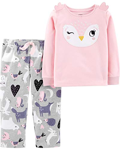 Carter's Little Girls' 2-Piece Fleece Christmas PJs (2T, Pink/Owl)