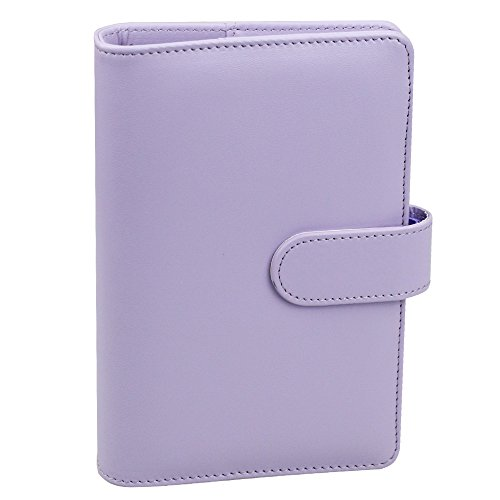 (A6 PU Leather Notebook Binder,Refillable 6 Round Ring Binder Cover for A6 Filler Paper,Macaron Notebook Personal Planner Binder with Magnetic Buckle,Lavender)