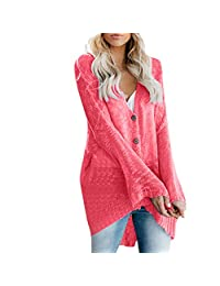 VEZAD Store Womens Pure Color Flare Sleeve Button Sweater Cardigan Single-Breasted Thin Top