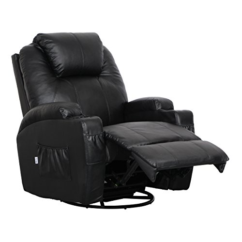 Esright Massage Recliner Chair Heated PU Leather Ergonomic Lounge 360 Degree Swivel (Black)