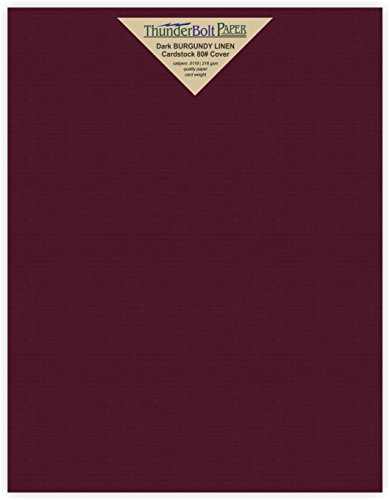 50 Dark Burgundy Linen 80# Cover Paper Sheets - 8.5