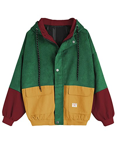 ded Color Block Corduroy Jacket Long Sleeve Oversized Coat(Green,L) ()