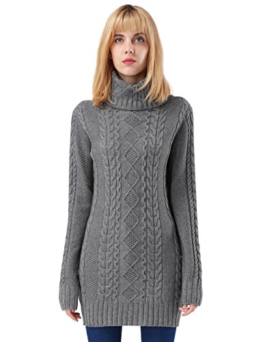 ninovino Women's Sweater Dress - Turtleneck Long Sleeve Cable Knit Grey M (Thickening)