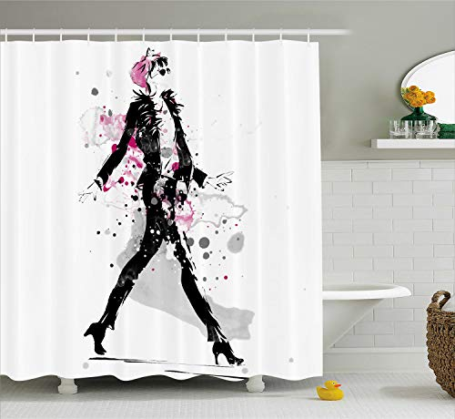 - Ambesonne Fashion Shower Curtain, Glamorous Stylish Sexy Woman Model on Catwalk Runway in Vintage Clothes Design, Fabric Bathroom Decor Set with Hooks, 75 Inches Long, Black Pink