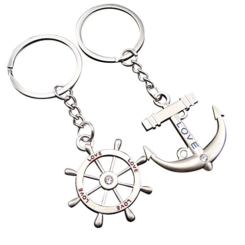 Galaxia Air Classic 2pcs Anchor and Rudder Key Ring Keychain - Best Gift for Friends