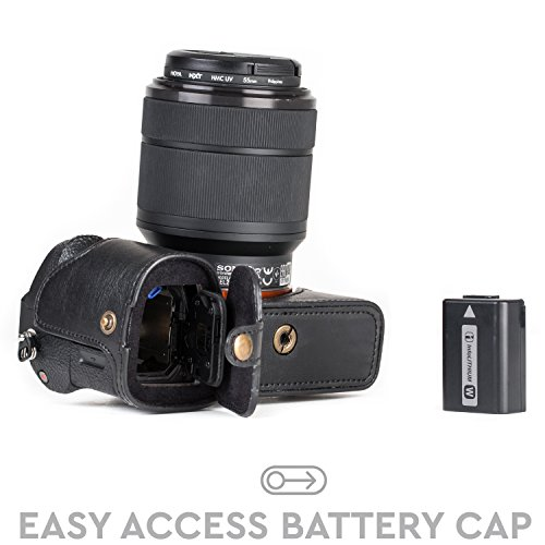 MegaGear Sony Alpha A7S II, A7R II, A7 II Ever Ready Leather Camera Half Case and Strap, with Battery Access - Black - MG1123