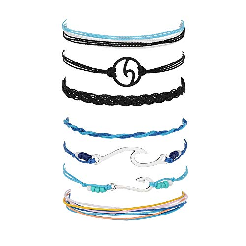 Long tiantian 2 Pcs Summer Surfer Wave Anklet Bracelet for Woman,Adjustable Waterproof Ocean Wave Braided Rope String Bracelet Set (B-2set) ()