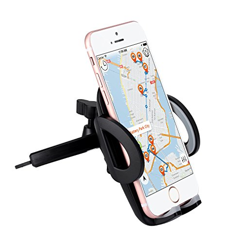 Car Mount CD Slot Cell Phone Holder for iPhone, iPod, Samsung, LG, Nexus, HTC, Motorola, Sony and Other Smartphones and MP3 Players (Black)