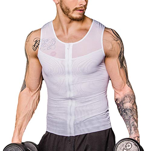 Shaxea Zipper Men's Strong Compression Shirt to Hide Gynecomastia Body Shaper Chest Slimming Body Shaper fit Undershirt (X-Large, White)