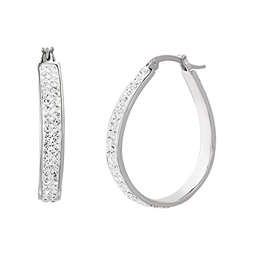 (Devin Rose 35mm Oval Hoop Earrings for Women Made With Swarovski Crystal in Rhodium Plated Brass)