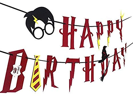DK Harry Potter Party Supplies – Happy Birthday Banner Felt Garland Party Decoration, Red